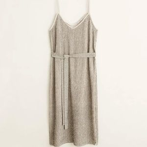 Textured midi dress - Taupe